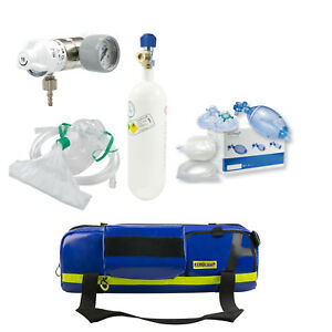 TAUCHER-SET Notfalltasche+Druckminderer+Sauerstoffflasche 2l+Beatmungsbeutel