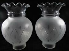 2 Antique Sinumbra Solar Chimney Lamp Shades Frosted Cut to Clear Glass Diamond