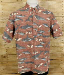 Reyn Spooner Dietrich Varez Hawaiian Pullover Shirt Mens XL Dolphins Whales