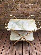 Vintage 2 Tier Marble Effect Folding Hostess Tea Drinks Trolley