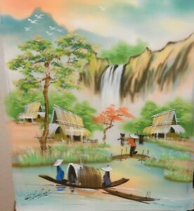 CHINESE ORIGINAL WATERCOLOR ON SILK VILLAGE RIVER PAINTING SIGNED