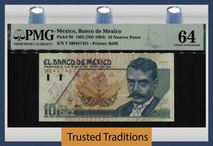 TT PK 99 1992 (ND 1994) MEXICO BANCO DE MEXICO 10 NUEVOS PESOS PMG 64 CHOICE UNC