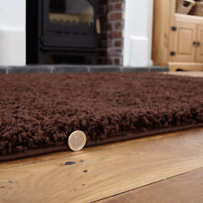 Large Thick 5cm High Pile Soft Modern Chocolate Brown Shaggy Rug 150 X 210cm