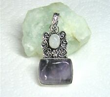 Natural Amethyst and Moonstone Gemstone Pendant - 925 Stamped