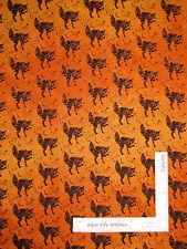Halloween Black Cat Orange Ombre Cotton Fabric Timeless Treasures C3385 - Yard