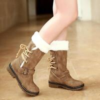 Fashion Warm Winter Women Mid Calf Boots Fur Lined Low Chunky Heel Casual Shoes