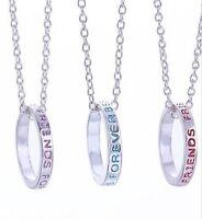 3 Colliers pendentif anneau inscrit Best friends forever + chaines.