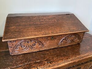 ANTIQUE CARVED OAK BIBLE BOX, Old Lining Paper