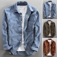 Men's Long Sleeve Corduroy Cord Shirts Casual Loose Fit Shirts Cardigan Blouse