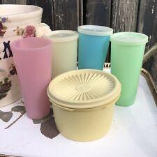 vintage Retro tupperware bundle pastal beakers & fanlid