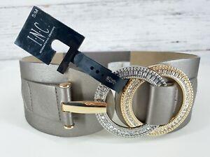 INC International Concepts Sz S/M Double Ring Rhinestone Stretch Belt Gray