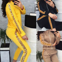 Womens Tracksuit 2 Piece Outftis Long Sleeve Sweatshirt Hoodie + Bodycon Pant IL