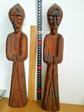 Pair of  Vintage wooden Druid carving ornament can be hanged on wall