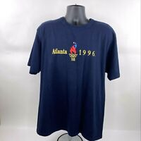 Vintage Champion 1996 Atlanta Olympics Embroidered Navy Thick T-Shirt Size Large