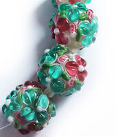 Lampwork Glass Flower Beads Raised Petals Sea Green 15 mm 4 Beads (#a33g)