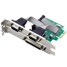 2 Port RS-232 Serial COM & 1 Port Printer Parallel LPT Port to PCI-E Adapter