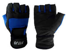 BBA DOUBLE STRAP WEIGHT LIFTING GYM GLOVES WRIST SUPPORT BODYBUILDING FITNESS