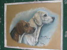 OLD DOG PAINTING FOXHOUND 1973 2 NAMED DOGS HUNTING