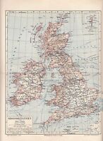 1890 GREAT BRITAIN Antique Map