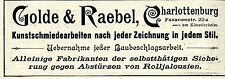 Golde & Raebel Berlin KUNSTSCHMIEDEARBEITEN Historische Reklame von 1896