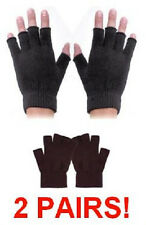 2 PAIRS BLACK FINGERLESS KNIT MAGIC STRETCH GLOVES hand warmers open fingers A3