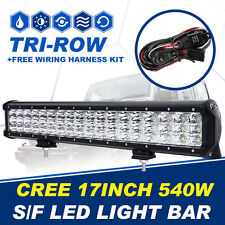 17INCH 540W CREE TRI ROW LED LIGHT BAR SPOT FLOOD WORK OFFORAD ATV SUV 12V 24V