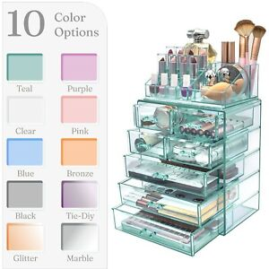 Acrylic Makeup Organizer with 6 Drawers & 16 Slots Jewelry Cosmetics Storage Box