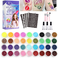 Glitter Tattoos Kit, 36 Colours Glitter Temporary Tattoo Set for Kids, Teenagers
