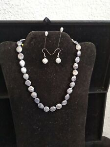 Real Pearl 925 necklace and earrings