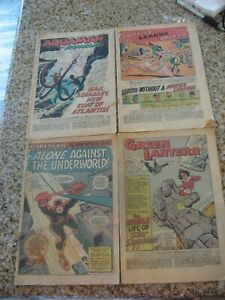 4 VINTAGE SILVER AGE COMICS NO COVERS  JLA--GREEN LANTERN--DAREDEVIL --AQUAMAN