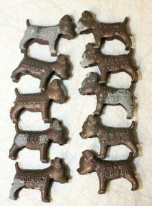 Vintage Ideal Dog Food Good Luck Advertising Metal Dog Figurine Lot of 10