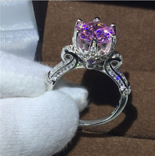 2Ct Round Cut Pink Sapphire Solitaire Engagement Band Ring 14K White Gold Finish