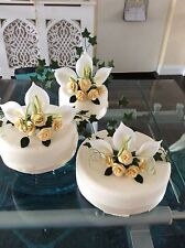 WEDDING CAKE SUGAR FLOWERS SET OF 3 TOPPERS IN GOLD & IVORY,IN MOST COLOURS 135