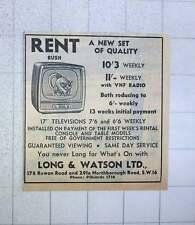 1960 Long And Watson Pollards Rent New Bush Tv