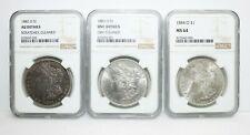 Set Of 3 Morgan Silver $1 Dollar 1882 1883 1884 O Coins