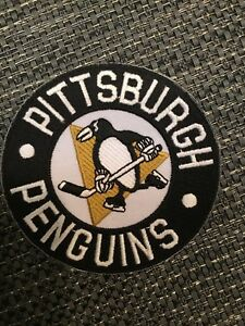 """Pittsburgh Penguins Vintage Embroidered Iron On Patch Awesome  Patch 3.75"""" NHL"""
