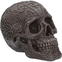 CELTIC IRON SKULL 16cm Nemesis Now Grey Medieval Ornament Gothic Gift FREE P+P