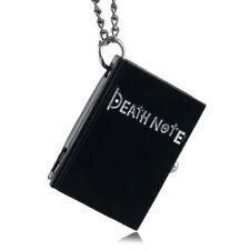 Fashion Book Shape Death Note Men Quartz Pocket Watch Full Hunter Necklace Chain