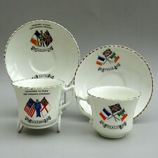 More details for 2 ~ wwi armistice peace & victory cups & saucers ~ freedom & right ~ allied flag