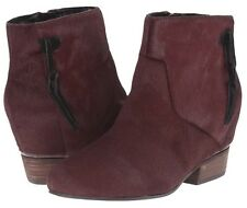 Volatile Cake Wine Leather Calf Fur Ankle Boot Bootie Size 8.5 New In Box NIB