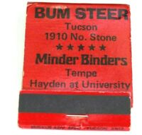 Vintage Bum Steer Tucson Arizona Minder Binders Matchbook Business Closed