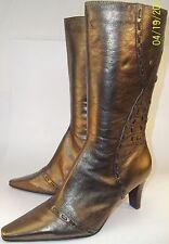 Bandolino Calista Womens US 8.5 M Bronze Leather Zip-Up Mid-calf Heels Boots