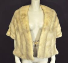 Vintage Stole Shawl Capelet Beige Real Fur Hand pockets + Snap Front Lovely Lg L