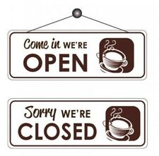 Cafe Open / Closed Sign Reversible Notice Shop Sign With Sucker 30 X 105mm