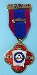 Masonic Mark Lodge Centenary Jewel Shakespeare Lodge No 40 TI