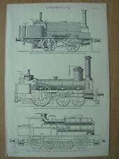 Antico 1880 Vittoriano stampa locomotive Manning wardle & CO-AUSTRIACO-FRANCESE