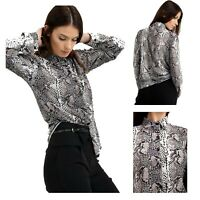 Ladies Snake Print Long Sleeves Shirt Spread Collared Blouse Casual Shirt Top