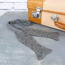 Handmade Yorkshire Tweed Self Tie Bow tie - Black/Grey