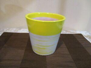 "Yellow/Beige Striped  Ceramic Pot, Costa  Farms, 5"" Tall (1pc)"