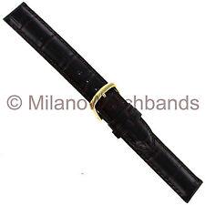 16mm Hadley-Roma Dark Brown Genuine Leather Mens Alligator Grain WatchBand MS835